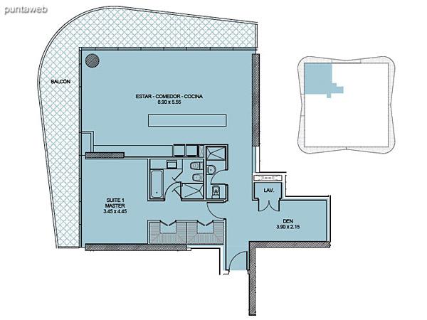 Tipología 05. Una Suite + Den.<br><br>Superficie cubierta: 107.82 m2<br>Superficie balcón: 36.43 m2<br>Superficie total: 144.25 m2