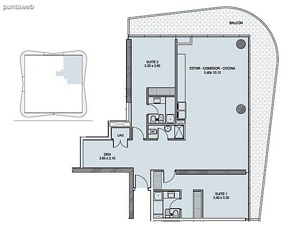 Tipología 03. Dos Suites + Den.<br><br>Superficie cubierta: 134.25 m2<br>Superficie balcón: 39.88 m2<br>Superficie total: 174.13 m2