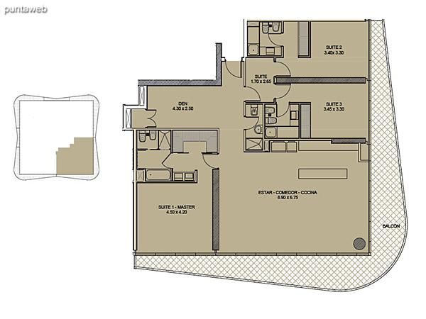 Tipología 02. Tres Suites + Den.<br><br>Superficie cubierta: 172.88 m2<br>Superficie balcón: 44.80 m2<br>Superficie total: 217.68 m2
