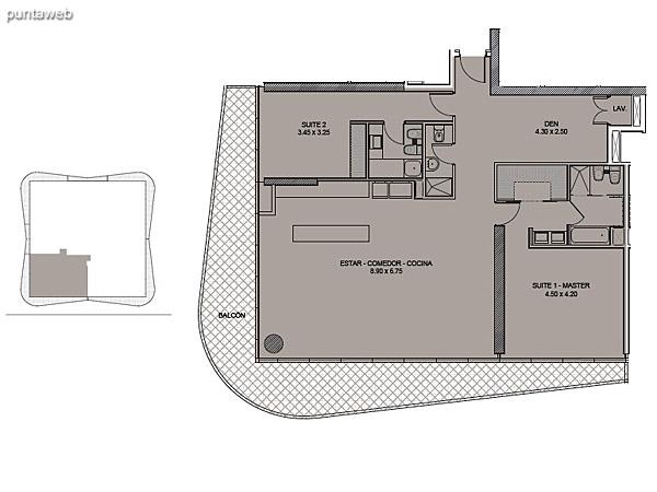 Tipología 01. Dos Suites + Den.<br><br>Superficie cubierta: 146.09 m2<br>Superficie balcón: 41.23 m2<br>Superficie total: 187.32 m2