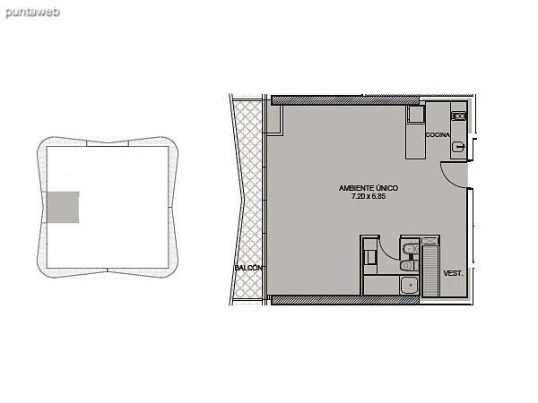 Tipología 06. Ambiente único.<br><br>Superficie cubierta: 53.66 m2<br>Superficie balcón: 6.91 m2<br>Superficie total: 60.57 m2