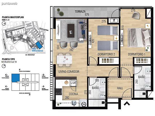 Tipo 2D–1 Unidades 601 al 1901 – 2 dormitorios, 2 baños<br>Área total: 123.05 m²<br>Área propia: 72.60 m²<br>Área terraza cubierta: 5.20 m²<br>Área terraza descubierta: 0.0 m²<br>Espacios comunes: 45.25 m²