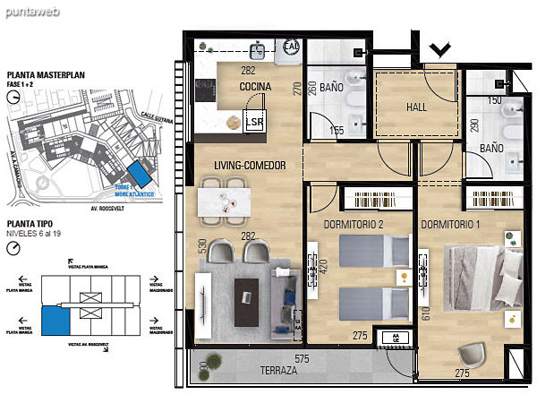 Tipo 2D–1 Lock Off Unidades 601 al 1901 – 2 dormitorios, 2 baños<br>Área total: 123.05 m²<br>Área propia: 72.60 m²<br>Área terraza cubierta: 5.20 m²<br>Área terraza descubierta: 0.0 m²<br>Espacios comunes: 45.25 m²