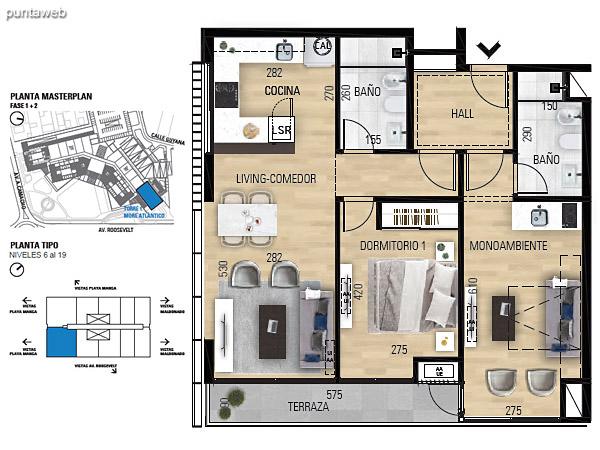 Tipo 2D–1 Unidades 602 al 1902 – 2 dormitorios, 2 baños<br>Área total: 123.05 m²<br>Área propia: 72.60 m²<br>Área terraza cubierta: 5.20 m²<br>Área terraza descubierta: 0.0 m²<br>Espacios comunes: 45.25 m²