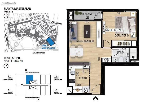 Tipo 1D–1 Unidades 603 al 1903 – 1 dormitorio, 1 baño<br>Área total: 70.54 m²<br>Área propia: 41.70 m²<br>Área terraza cubierta: 2.90 m²<br>Área terraza descubierta: 0.0 m²<br>Espacios comunes: 25.94 m²