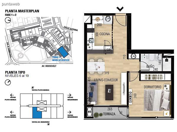 Tipo 1D–1 Unidades 604 al 1904 – 1 dormitorio, 1 baño<br>Área total: 70.54 m²<br>Área propia: 41.70 m²<br>Área terraza cubierta: 2.90 m²<br>Área terraza descubierta: 0.0 m²<br>Espacios comunes: 25.94 m²