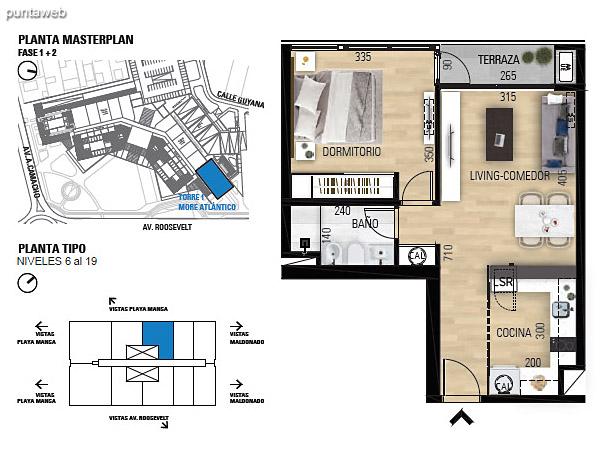 Tipo 1D–1 Unidades 605 al 1905 – 1 dormitorio, 1 baño<br>Área total: 70.54 m²<br>Área propia: 41.70 m²<br>Área terraza cubierta: 2.90 m²<br>Área terraza descubierta: 0.0 m²<br>Espacios comunes: 25.94 m²