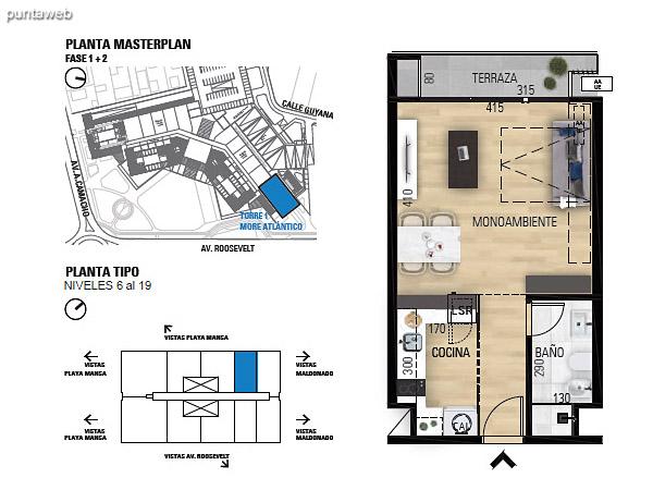 Tipo 1D–1 Unidades 606 al 1906 – 1 dormitorio, 1 baño<br>Área total: 70.54 m²<br>Área propia: 41.70 m²<br>Área terraza cubierta: 2.90 m²<br>Área terraza descubierta: 0.0 m²<br>Espacios comunes: 25.94 m²