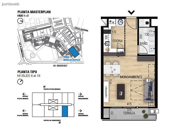 Tipo M–1 Unidades 607 al 1907 – Monoambiente, 1 baño<br>Área total: 55.83 m²<br>Área propia: 31.40 m²<br>Área terraza cubierta: 3.90 m²<br>Área terraza descubierta: 0.0 m²<br>Espacios comunes: 20.53 m²