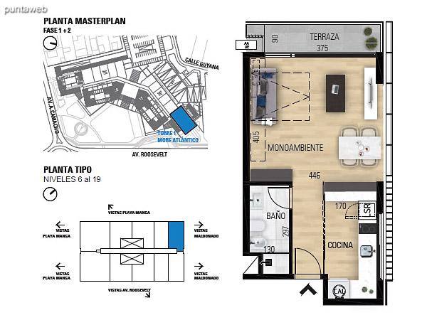 Tipo M–1 Unidades 608 al 1908 – Monoambiente, 1 baño<br>Área total: 55.83 m²<br>Área propia: 31.40 m²<br>Área terraza cubierta: 3.90 m²<br>Área terraza descubierta: 0.0 m²<br>Espacios comunes: 20.53 m²