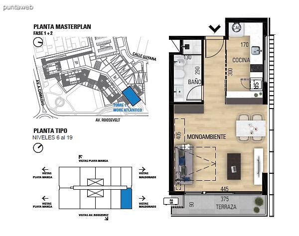 Tipo M–2 Unidades 609 al 1909 – Monoambiente, 1 baño<br>Área total: 61.84 m²<br>Área propia: 35.10 m²<br>Área terraza cubierta: 4.00 m²<br>Área terraza descubierta: 0.0 m²<br>Espacios comunes: 22.74 m²