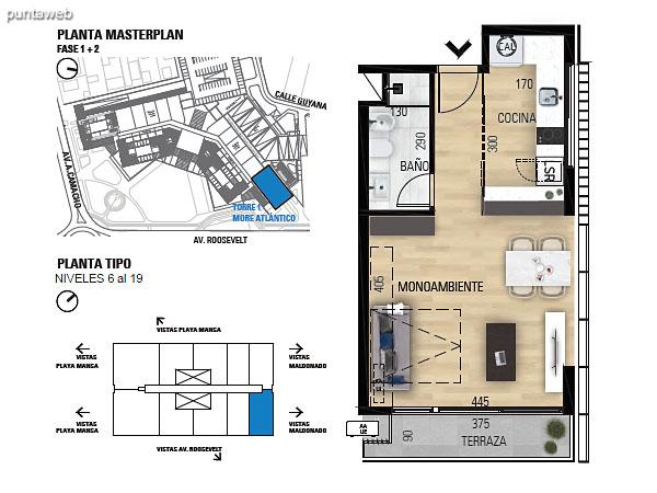 Tipo M–2 Unidades 610 al 1910 – Monoambiente, 1 baño<br>Área total: 61.84 m²<br>Área propia: 35.10 m²<br>Área terraza cubierta: 4.00 m²<br>Área terraza descubierta: 0.0 m²<br>Espacios comunes: 22.74 m²