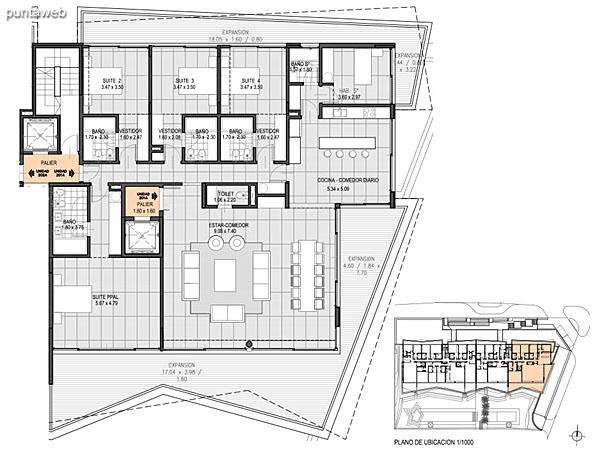 Nivel 2 – A – Unidad 201<br><br>Tipo: 4 ambientes<br>Vista: Mar<br>Superficie cubierta: 191.80 m�<br>Superficie expansi�n: 42.60 m�<br>Cochera: opcional<br>Baulera: opcional
