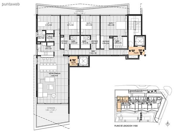 Nivel 2 – A – Unidad 202<br><br>Tipo: 5 ambientes<br>Vista: Mar<br>Superficie cubierta: 238.50 m�<br>Superficie expansi�n: 73.70 m�<br>Cochera: opcional<br>Baulera: opcional