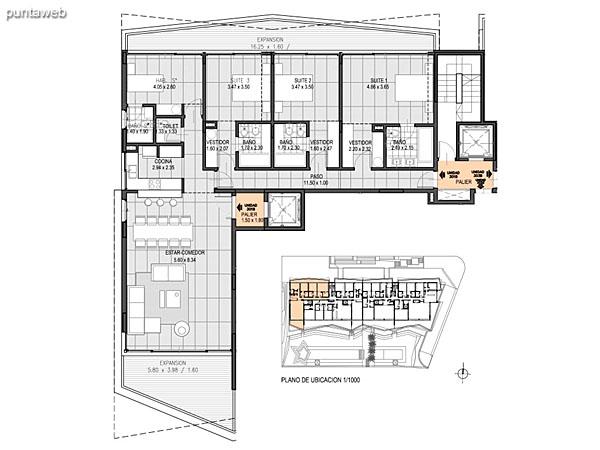 Nivel 3 – A – Unidad 302<br><br>Tipo: 5 ambientes + dependencia<br>Vista: Mar<br>Superficie cubierta: 235.50 m�<br>Superficie expansi�n: 73.90 m�<br>Cochera: opcional<br>Baulera: opcional