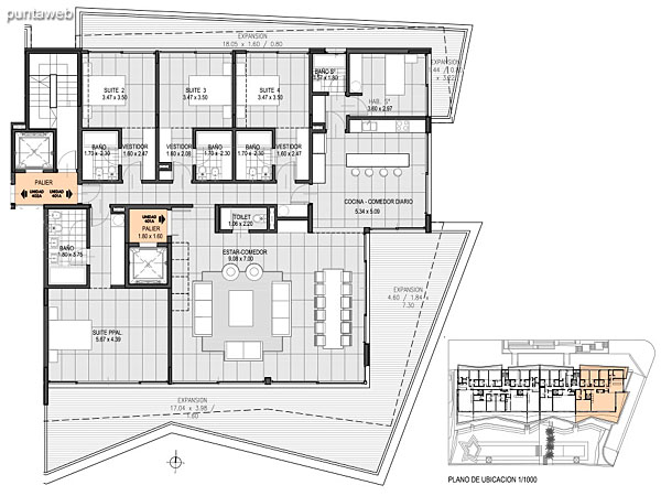 Nivel Penthouse – A – Unidad 401<br><br>Tipo: 5 ambientes + dependencia<br>Vista: Mar<br>Superficie cubierta: 232.50 m�<br>Superficie expansi�n: 85.10 m�<br>Cochera: opcional<br>Baulera: opcional