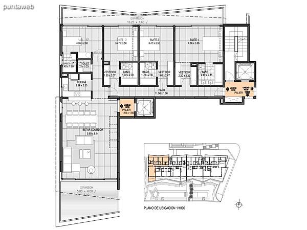 Nivel Penthouse – A – Unidad 402<br><br>Tipo: 4 ambientes + dependencia<br>Vista: Mar<br>Superficie cubierta: 186.50 m�<br>Superficie expansi�n: 42.60 m�<br>Cochera: opcional<br>Baulera: opcional