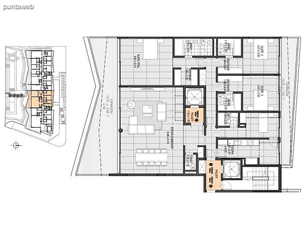 Nivel Penthouse – B – Unidad 401<br><br>Tipo: 4 ambientes + dependencia<br>Vista: Mar<br>Superficie cubierta: 162.10 m�<br>Superficie expansi�n: 33.80 m�<br>Cochera: opcional<br>Baulera: opcional