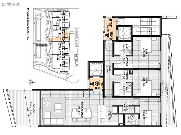 Nivel Penthouse – B – Unidad 403<br><br>Tipo: 3 ambientes + dependencia<br>Vista: Mar<br>Superficie cubierta: 115.60 m�<br>Superficie expansi�n: 25.30 m�<br>Cochera: opcional<br>Baulera: opcional