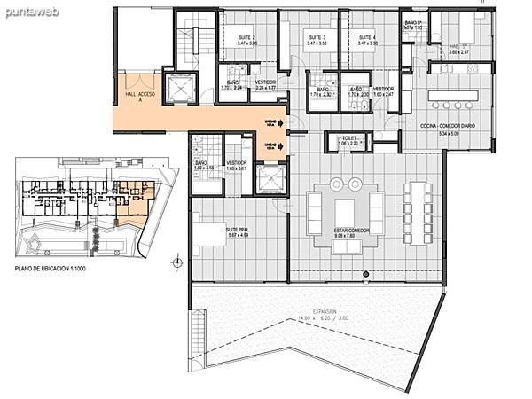Nivel Jard�n – A – Unidad 101<br><br>Tipo: 4 ambientes + dependencia<br>Vista: Mar<br>Superficie cubierta: 168.70 m�<br>Superficie expansi�n: 44.50 m�<br>Cochera: opcional<br>Baulera: opcional