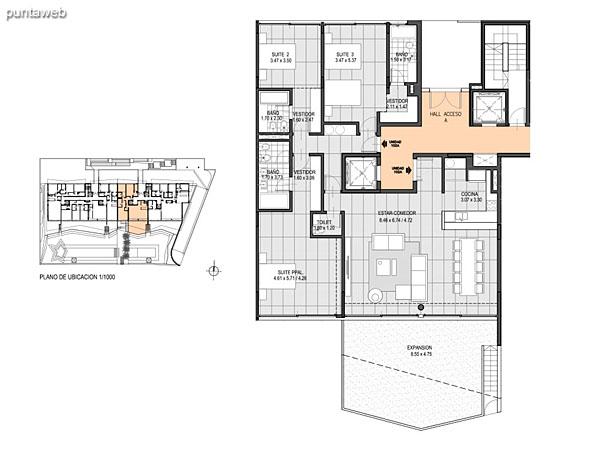 Nivel Jard�n – A – Unidad 102<br><br>Tipo: 5 ambientes + dependencia<br>Vista: Mar<br>Superficie cubierta: 233.50 m�<br>Superficie expansi�n: 73.80 m�<br>Cochera: opcional<br>Baulera: opcional