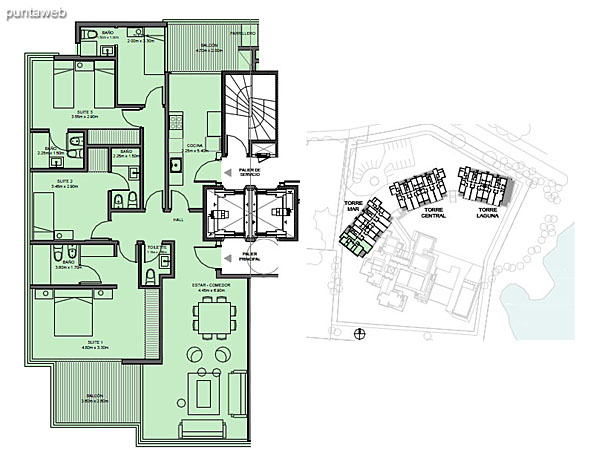 Torre Mar – Unidad 01 – 4 suites<br><br>Superficie cubierta: 130.09 m²<br>Superficie semi cubierta: 17.15 m²<br>Baulera: 2 m²<br>Circulación: 20.97 m²<br>Total: 170.21 m²