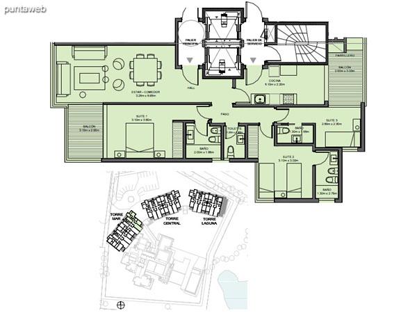Torre Mar – Unidad 04 – 3 suites<br><br>Superficie cubierta: 103.63 m²<br>Superficie semi cubierta: 14.51 m²<br>Baulera: 2 m²<br>Circulación: 21.16 m²<br>Total: 141.30 m²