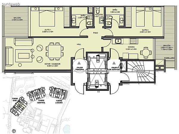 Torre Mar – Unidad 03 – 2 suites<br><br>Superficie cubierta: 90.13 m²<br>Superficie semi cubierta: 16.82 m²<br>Baulera: 2 m²<br>Circulación: 15.23 m²<br>Total: 124.18 m²