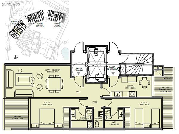 Torre Mar – Unidad 02 – 2 suites<br><br>Superficie cubierta: 90.13 m²<br>Superficie semi cubierta: 16.82 m²<br>Baulera: 2 m²<br>Circulación: 15.23 m²<br>Total: 124.18 m²
