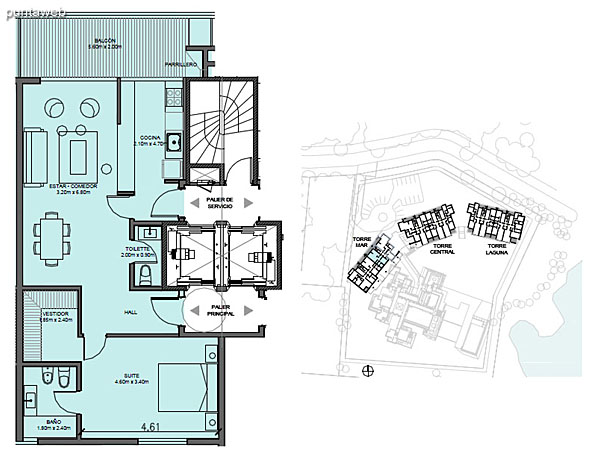 Torre Mar – Unidad H – 1 suite<br><br>Superficie cubierta: 72.29 m²<br>Superficie semi cubierta: 11.69 m²<br>Baulera: 2 m²<br>Circulación: 13.30 m²<br>Total: 99.28 m²