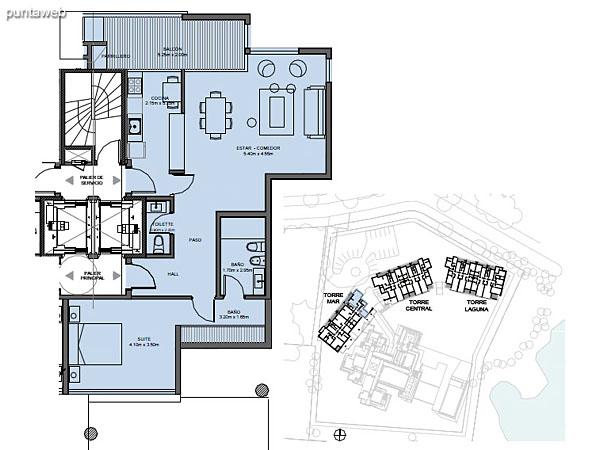 Torre Mar – Unidad G – 1 suite<br><br>Superficie cubierta: 89.25 m²<br>Superficie semi cubierta: 7.51 m²<br>Baulera: 2 m²<br>Circulación: 19.78 m²<br>Total: 118.54 m²