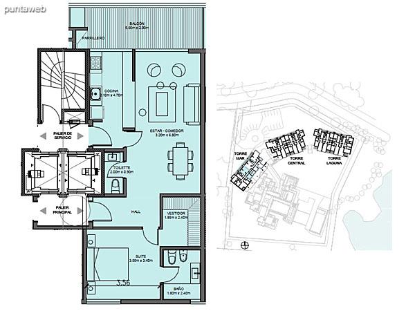Torre Mar – Unidad E – 1 suite<br><br>Superficie cubierta: 68.30 m²<br>Superficie semi cubierta: 11.72 m²<br>Baulera: 2 m²<br>Circulación: 14.15 m²<br>Total: 96.17 m²