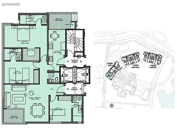 Torre Mar – Unidad D – 3 suites<br><br>Superficie cubierta: 112.78 m²<br>Superficie semi cubierta: 11.96 m²<br>Baulera: 2 m²<br>Circulación: 22.05 m²<br>Total: 148.79 m²