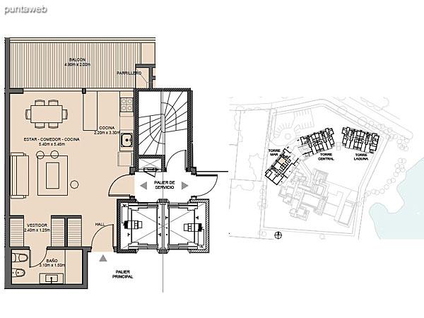 Torre Mar – Unidad C – Monoambiente<br><br>Superficie cubierta: 48.80 m²<br>Superficie semi cubierta: 11.63 m²<br>Baulera: 2 m²<br>Circulación: 13.95 m²<br>Total: 76.38 m²