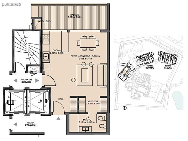 Torre Mar – Unidad B – Monoambiente<br><br>Superficie cubierta: 50.20 m²<br>Superficie semi cubierta: 12.48 m²<br>Baulera: 2 m²<br>Circulación: 15.94 m²<br>Total: 80.62 m²