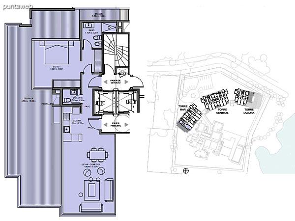 Torre Mar – Unidad 9A – 1 suite<br><br>Superficie cubierta: 72.50 m²<br>Superficie semi cubierta: 6.43 m²<br>Superficie descubierta: 68.98 m²<br>Baulera: 2 m²<br>Circulación: 21.01 m²<br>Total: 168.92 m²