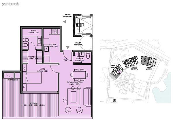 Torre Mar – Unidad 11B – 1 suite<br><br>Superficie cubierta: 86.29 m²<br>Superficie semi cubierta: 16.50 m²<br>Superficie descubierta: 56.25 m²<br>Baulera: 2 m²<br>Circulación: 19.90 m²<br>Total: 178.94 m²
